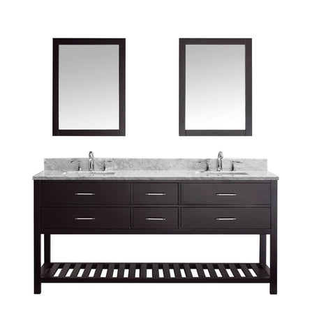 "Virtu USA Caroline Estate 72"" Double Bathroom Vanity with Marble Top and Square Sink with Mirrors"