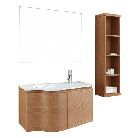 "Virtu USA Roselle 36"" Single Bathroom Vanity with White Ceramic Top & Round Sink"