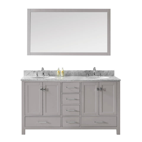 "Virtu USA Caroline Avenue 60"" Double Bathroom Vanity with Marble Top"