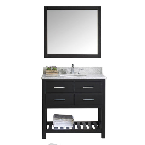 "Virtu USA Caroline Estate 36"" Single Bathroom Vanity with Marble Top and Mirror"