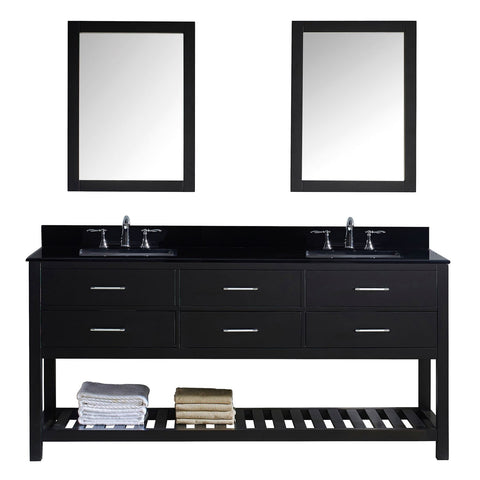 "Virtu USA Caroline Estate 72"" Double Bathroom Vanity with Black Galaxy Granite Top and Square Sink with Mirrors"