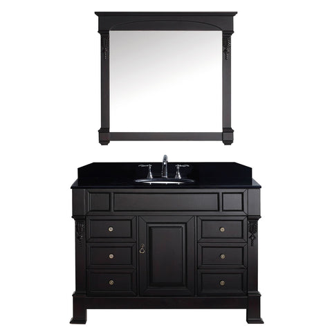 "Virtu USA Huntshire Manor 48"" Single Bathroom Vanity with Black Galaxy Granite Top"