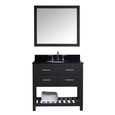 "Virtu USA Caroline Estate 36"" Single Bathroom Vanity with Black Galaxy Granite Top and Mirror"