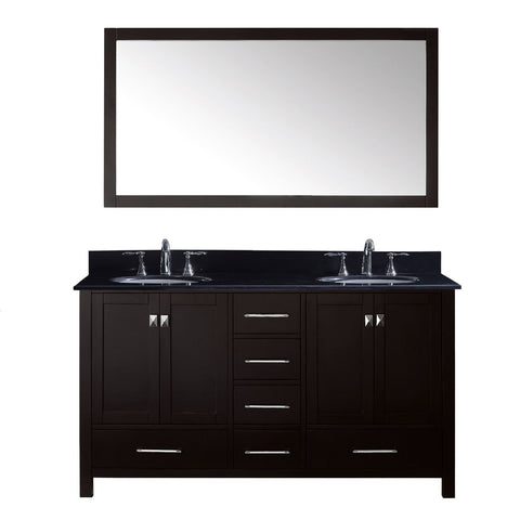 "Virtu USA Caroline Avenue 60"" Double Bathroom Vanity Black Galaxy Granite Top"