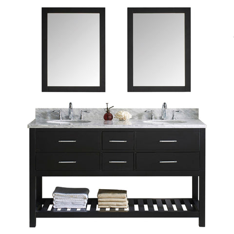 "Virtu USA Caroline Estate 60"" Double Bathroom Vanity with Marble Top and Round Sink with Mirrors"