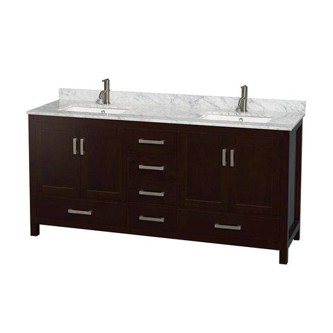 "Wyndham Collection Sheffield 72"" Double Bathroom Vanity with Square Sinks"