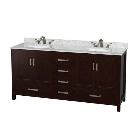 "Wyndham Collection Sheffield 72"" Double Bathroom Vanity with Oval Sinks"