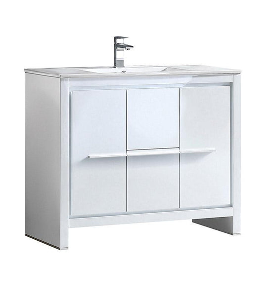 "Fresca Allier 40"" White Modern Bathroom Cabinet w/ Sink"