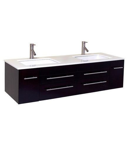 Fresca Bellezza Natural Wood Modern Double Vessel Sink Cabinet w/ Top & Sinks