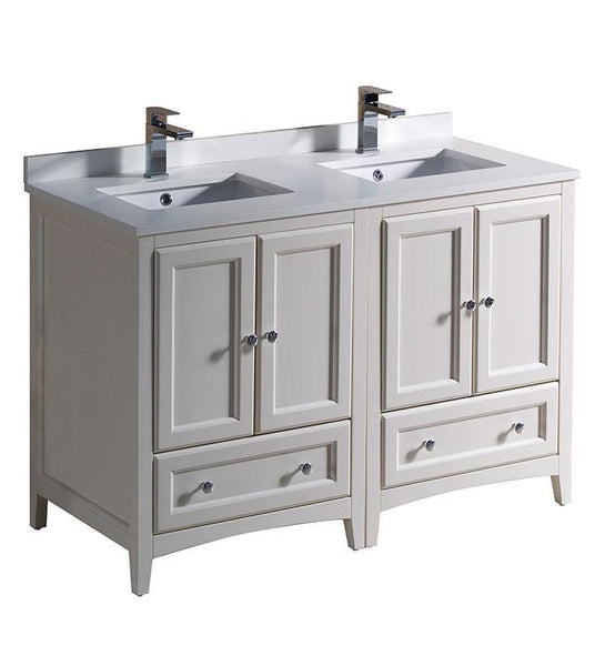 "Fresca Oxford 48"" Antique White Traditional Double Sink Bathroom Cabinets"