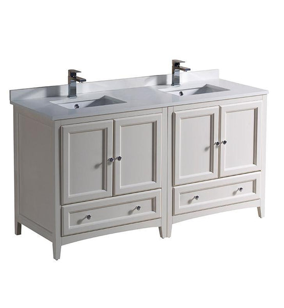 "Fresca Oxford 60"" Antique White Traditional Double Sink Bathroom Cabinets"