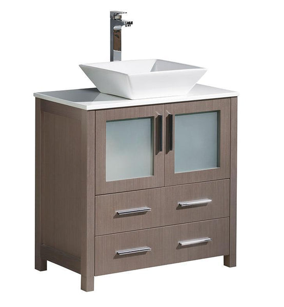 "Fresca Torino 30"" Gray Oak Modern Bathroom Cabinet w/ Top & Vessel Sink"