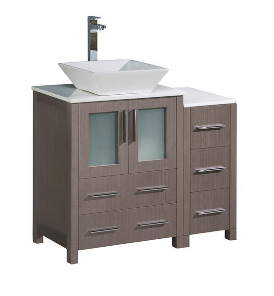 "Fresca Torino 36"" Gray Oak Modern Bathroom Cabinets w/ Top & Vessel Sink"