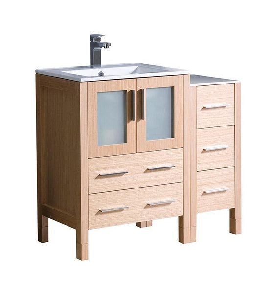 "Fresca Torino 36"" Light Oak Modern Bathroom Cabinets w/ Integrated Sink"