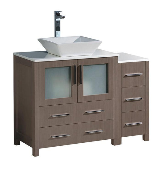 "Fresca Torino 42"" Gray Oak Modern Bathroom Cabinets w/ Top & Vessel Sink"