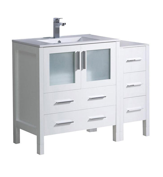 "Fresca Torino 42"" White Modern Bathroom Cabinets w/ Tops & Integrated Sink"