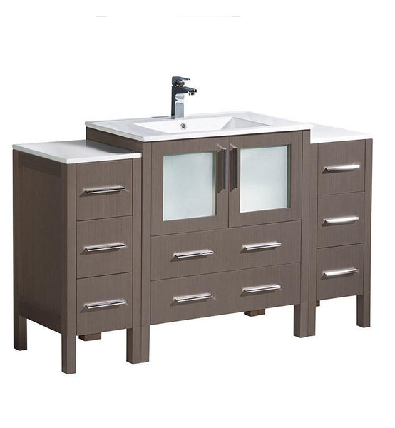 "Fresca Torino 54"" Gray Oak Modern Bathroom Cabinets w/ Integrated Sink"