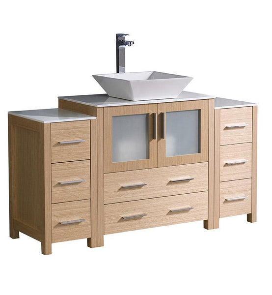 "Fresca Torino 54"" Light Oak Modern Bathroom Cabinets w/ Top & Vessel Sink"