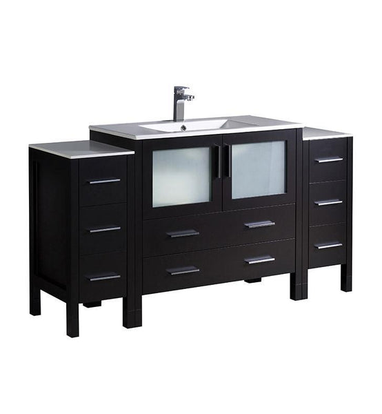 "Fresca Torino 60"" Espresso Modern Bathroom Cabinets w/ Integrated Sink"