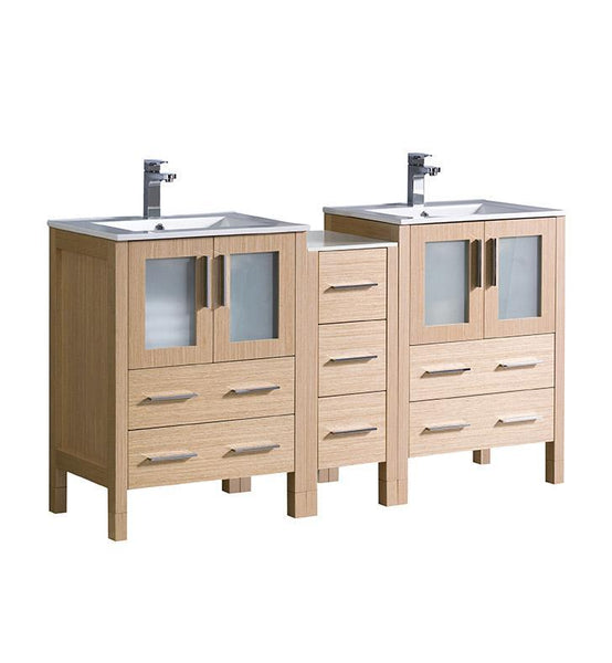 "Fresca Torino 60"" Light Oak Modern Double Sink Bathroom Cabinets"