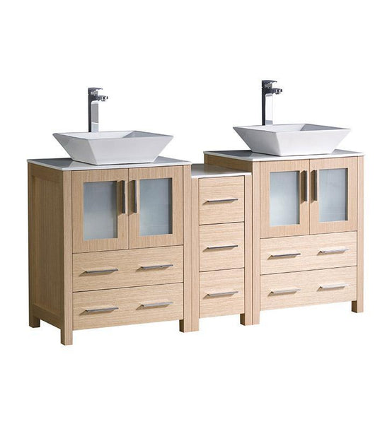 "Fresca Torino 60"" Light Oak Modern Double Sink Bathroom Cabinets w/ Tops"