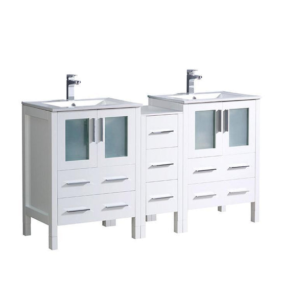 "Fresca Torino 60"" White Modern Double Sink Bathroom Cabinets w/ Integrated Sinks"