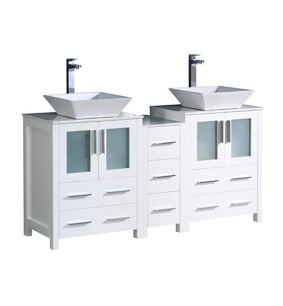 "Fresca Torino 60"" White Modern Double Sink Bathroom Cabinets w/ Tops"