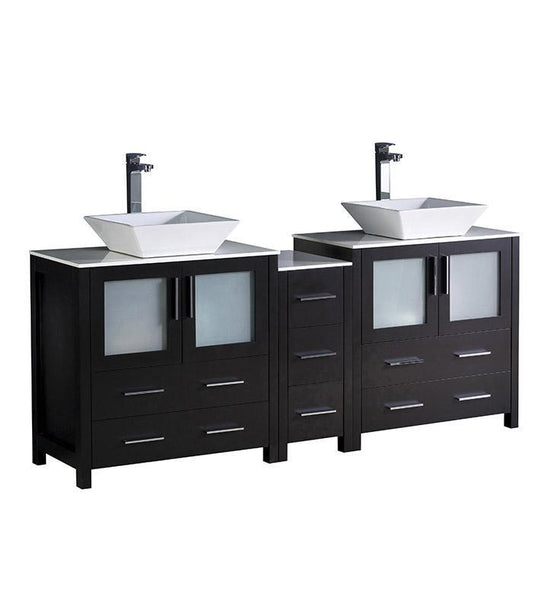 "Fresca Torino 72"" Espresso Double Sink Bathroom Cabinets w/ Tops & Vessel Sinks"