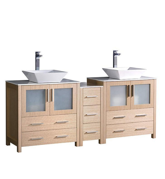 "Fresca Torino 72"" Light Oak Double Sink Bathroom Cabinets w/ Tops & Vessel Sinks"