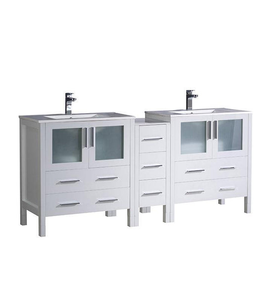 "Fresca Torino 72"" White Double Sink Bathroom Cabinets w/ Integrated Sinks"