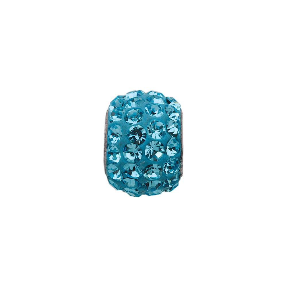 Blue Crystal Bling  charm Sterling Silver Blue