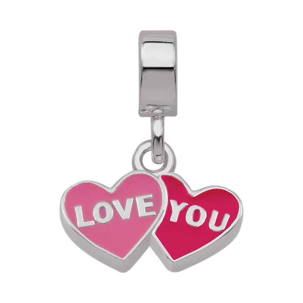 Loving Hearts jewellery charm Sterling Silver Pink