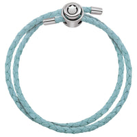 Blue Double Wrap Braided Leather