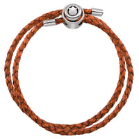 Orange Double Wrap Braided Leather