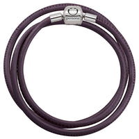 Purple Triple Wrap Nappa Leather Bracelet with Barrel Clasp
