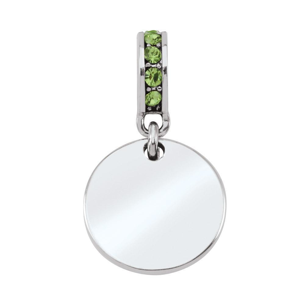 August Birthstone Colored Crystal Engravable Medallion