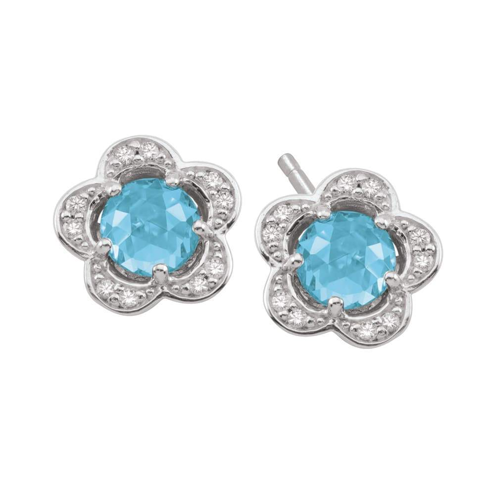 Birthstone Silver Charm March Flower Studs