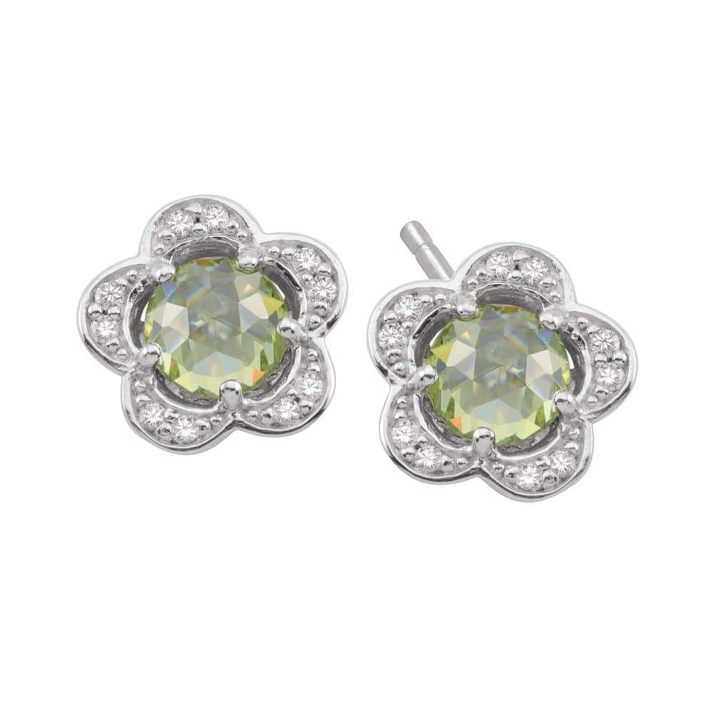 Birthstone Silver Charm August Flower Studs