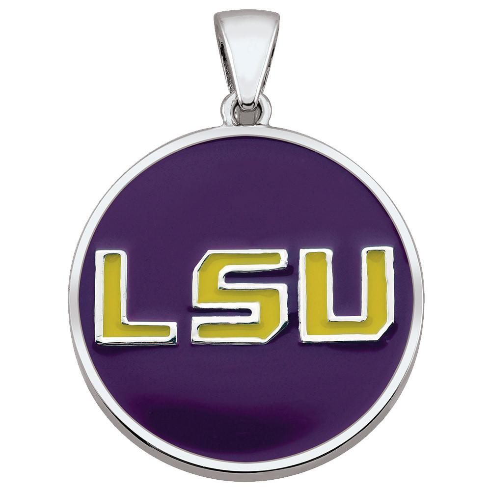 LSU Pendant Campus Life style Necklaces Sterling Silver Enamel Collegiate collection  Louisiana State University