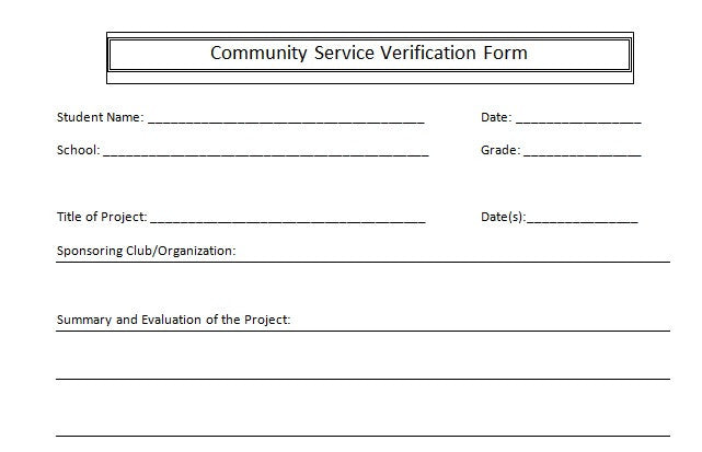 SuperFoster. Community Service Verification Form