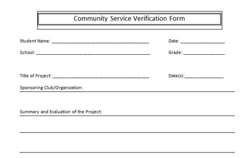 Community Service Form Community Service Completion Form Sample