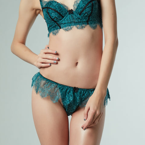 SEDUCTION | High Cut Lace Frill Tanga - VIRIDIAN