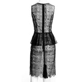 SEDUCTION | Sheer lace one-piece dress - Black