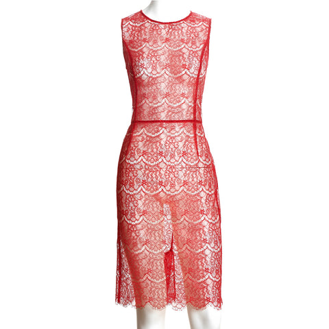 SEDUCTION | Sheer lace one-piece dress - Red