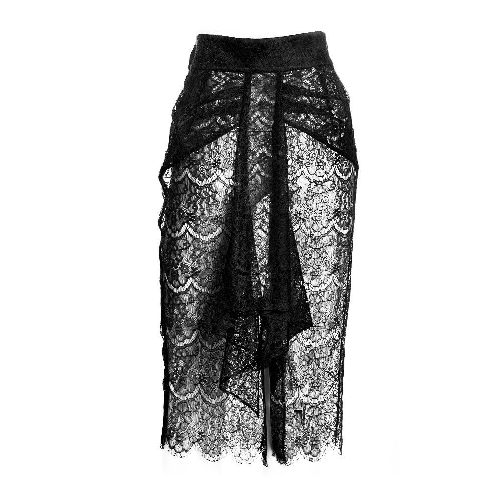SEDUCTION | Sheer lace Pencil Skirt - Black