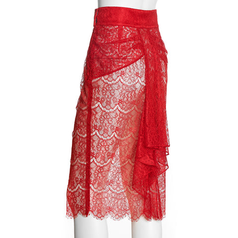 SEDUCTION | Sheer lace Pencil Skirt - Red