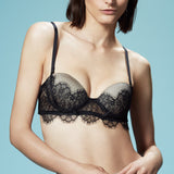 Akiko Ogawa Lingerie | Seduction - Strapless Molded push-up Bra - Black - Model