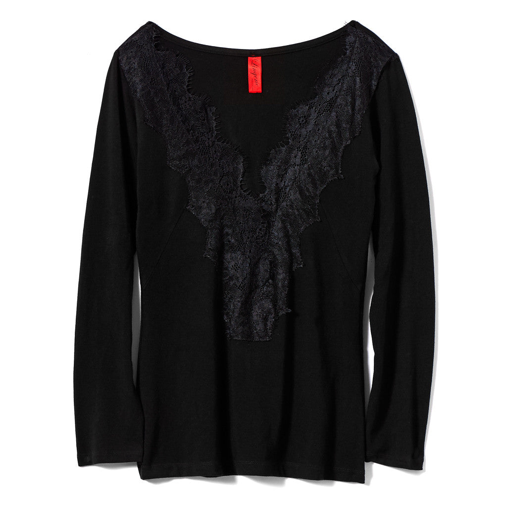 Akiko Ogawa Lingerie 2016A/W LOUNGEWEAR Black Long Sleeve Top Front