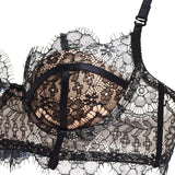 Akiko Ogawa Lingerie | Seduction - Black Lace Balconette Bra detail