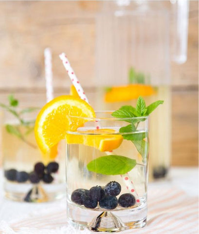 Blueberry Orange and Mint water